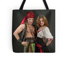 Pirate couple on black background  Tote Bag