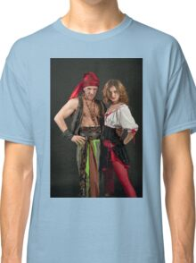 Pirate couple on black background  Classic T-Shirt