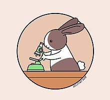 Cute Bunny Rabbit Scientist with Green Microscope by zoel