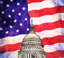 American Flag And Capitol Building by morningdance