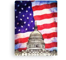 American Flag And Capitol Building Canvas Print