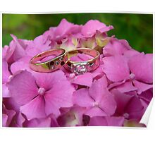 Wedding Rings - Pink Hydrangea - NZ Poster