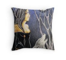 Howling Down The Moon Throw Pillow