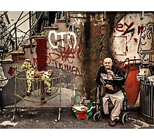 Disabled person and rocking horse Photographic Print