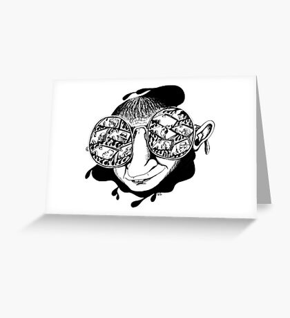 New York City drivers black and white pen ink surreal drawing Greeting Card