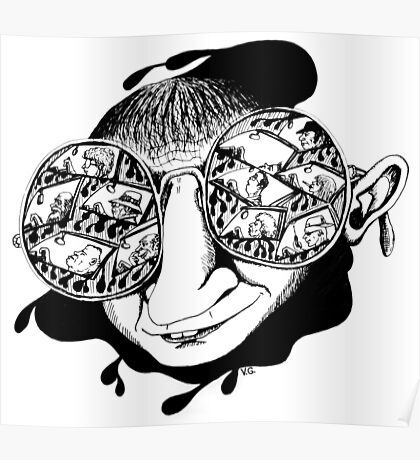 New York City drivers black and white pen ink surreal drawing Poster