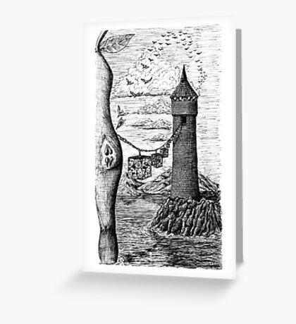 Circle of life black and white surreal drawing art Greeting Card