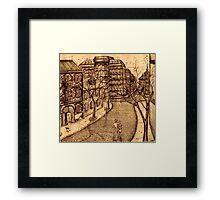 Old Odessa city black and white pen ink drawing Framed Print