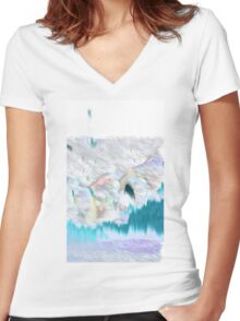 Blue Electric Landscape Women's Fitted V-Neck T-Shirt