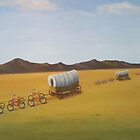 Substitutes: Bicycles pulling Conestogas across the prairie by PhyllisGAndrews