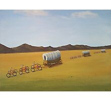 Substitutes: Bicycles pulling Conestogas across the prairie Photographic Print