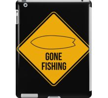 Gone fishing. Fish surfboard caution sign for surfers. iPad Case/Skin