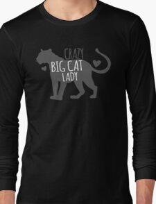 CRAZY BIG CAT lady! with cougar leopard jaguar Long Sleeve T-Shirt