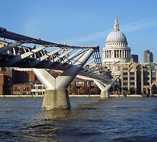 Millennium footbridge and Saint Paul's Cathedral by InterestingImag