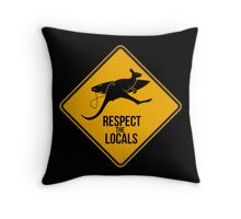 Respect the real locals. Kangaroo version. Australia surf. Throw Pillow