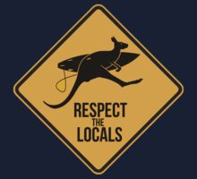 Respect the real locals. Kangaroo version. Australia surf. Kids Clothes