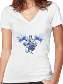 Trishula Dragon of the Ice Barrier Women's Fitted V-Neck T-Shirt