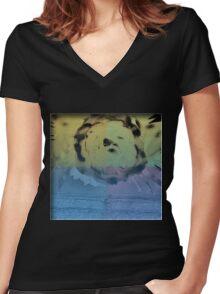 Liquid Bloom Women's Fitted V-Neck T-Shirt