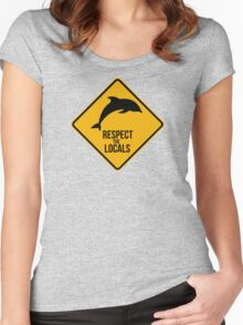 Respect the dolphins - Caution sign Women's Fitted Scoop T-Shirt