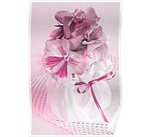 Pink Pansies In Ribboned Pot Poster