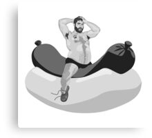 Big hairy bear riding giant hot dog Canvas Print