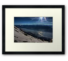 Skiing to Town Framed Print