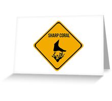 Sharp coral caution sign for surfing, diving, snorkelling. Beach. Greeting Card