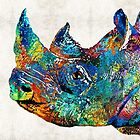 Rhino Rhinoceros Art - Looking Up - By Sharon Cummings by Sharon Cummings