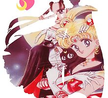 Sailor moon and tuxedo mask by KeriiLynne