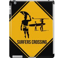 Surfers crossing. The endless summer caution sign. iPad Case/Skin