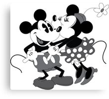 Vintage Mickey And Minnie Mouse  Canvas Print