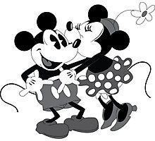 Vintage Mickey And Minnie Mouse  Photographic Print