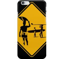 Caution sign. The endless summer surfing design. iPhone Case/Skin