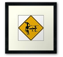 Caution sign. The endless summer surfing design. Framed Print