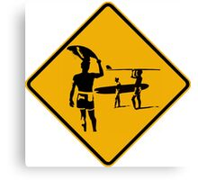 Caution sign. The endless summer surfing design. Canvas Print