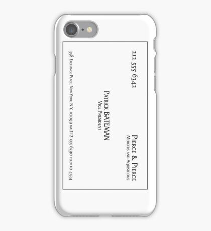 Patrick Bateman Business Card (vertical) iPhone Case/Skin