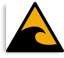Wave, big waves hazard sign. Caution! Danger! Not surf allowed in this area! Canvas Print