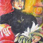 GIRL HOLDING HER FAVOURITE FLOWER by GittiArt