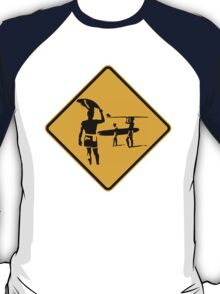 Caution sign. The endless summer surfing design. T-Shirt