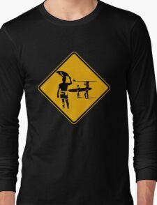 Caution sign. The endless summer surfing design. Long Sleeve T-Shirt