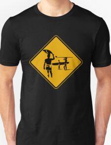 Caution sign. The endless summer surfing design. Unisex T-Shirt