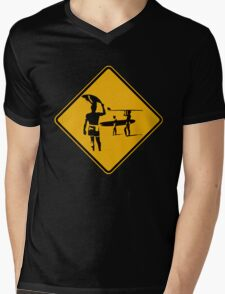 Caution sign. The endless summer surfing design. Mens V-Neck T-Shirt