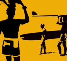 Caution sign. The endless summer surfing design. Sticker