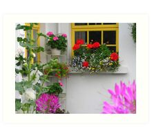 Cottage Window and Flowers Art Print