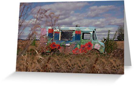 Hippie Van in Pennsylvania Farm Field by Jeremiah Keenehan