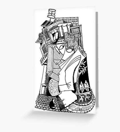 One day surreal black and white pen ink drawing Greeting Card