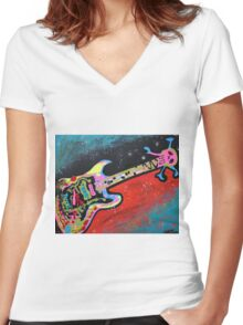 Space Guitar Women's Fitted V-Neck T-Shirt