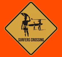 Surfers crossing. The endless summer caution sign. Kids Clothes