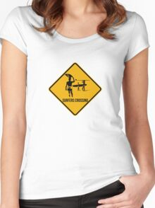 Surfers crossing Women's Fitted Scoop T-Shirt