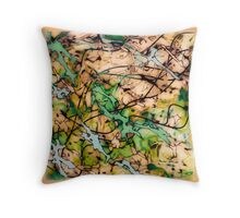 MODERN tangled, green and tan ART, hand DRAWN bit by bit digi Throw Pillow